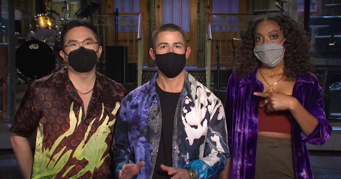 Nick Jonas Is Not Into Bowen Yang and Ego Nwodim's New Single in This Week's SNL Promo Photo