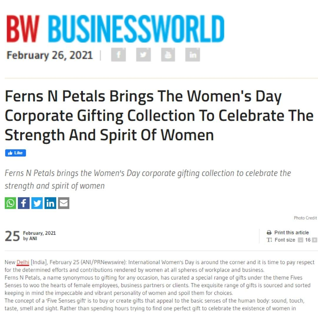 Delighted to share that @FernsNPetals Launched Special Gifting Collection to celebrate the occasion of Women's day.  Thanks For the feature @BWBusinessworld #womensday #gift #giftingsegment #fernsnpetalsindia #women #feature #womenhood #businessworld #fnp #vikaasgutgutia