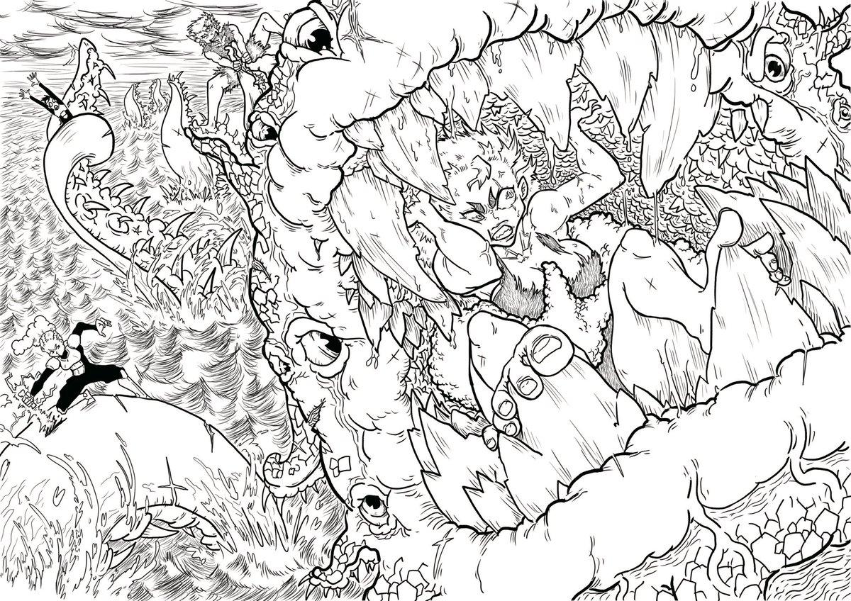 Dans ma #collection de #dessins réalisé, je retrouve plein de vieux #projet que je n'ai jamais partagé. Au final le plus difficile n'est pas de créer mais de partager et d'être vue. #manga #monster #anime #ankama #animation #encre #artmanga #kraken #giantoctopus #bot #drawing