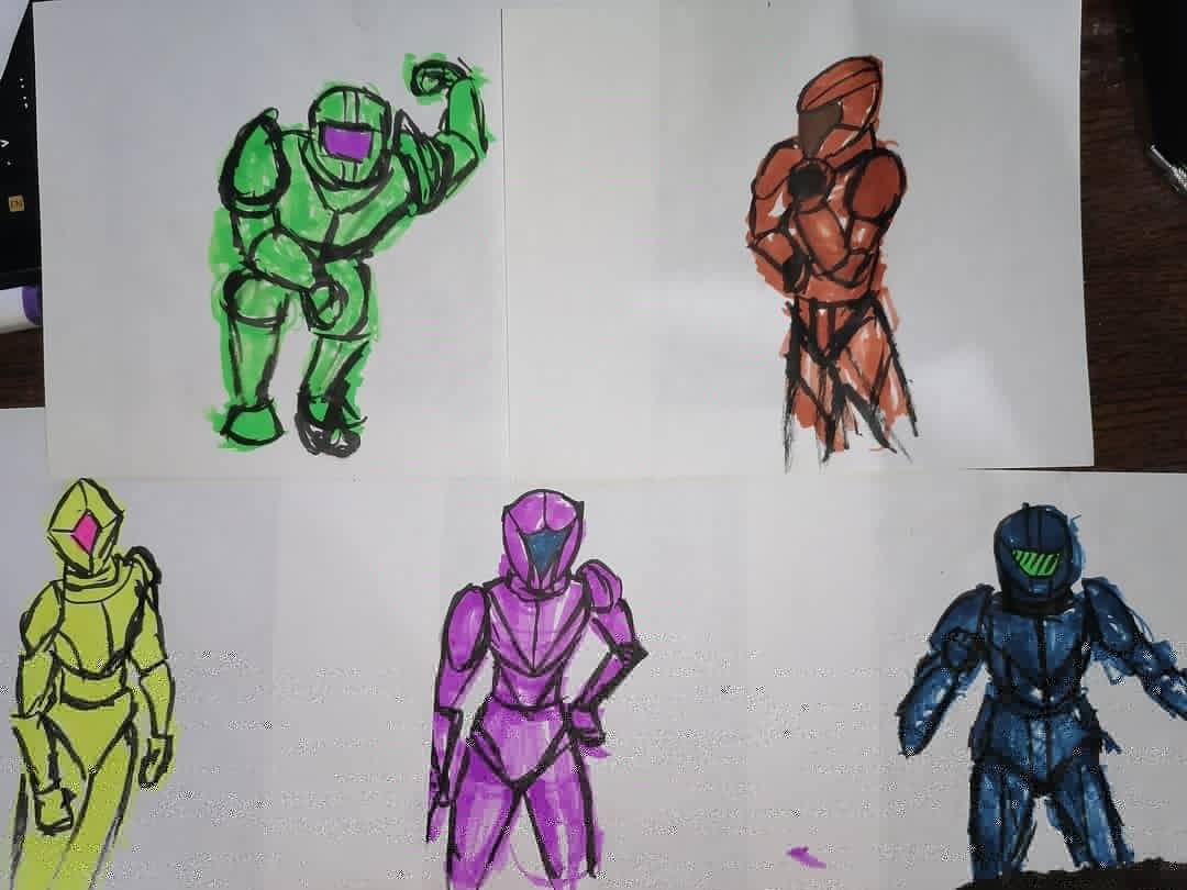 Según los iba dibujando quedaban más bonitos 🤣 #doodle #drawing #color #alcoholmarkers #superheroes #rangertype #supersentaitype #ink #dibujo #marcadores #marcadoresdealcohol #tinta