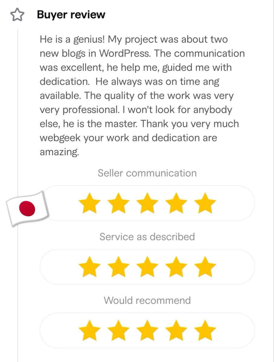 💥 Check-out my 5 ⭐ review at Fiverr 💚 ➡️   #Fiverr #webdeveloper #design #fiverrseller #development #webdevelopment #freelancing #wordpress #MadeOnFiverr #fiverrgig