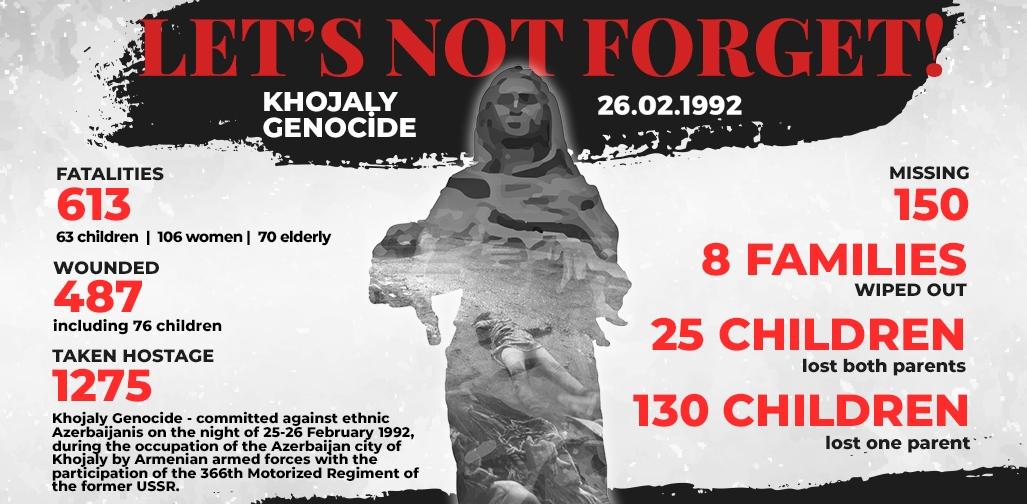 Khojaly genocide is a crime against humanity. We demand justice for Khojaly.We will never forget! #JusticeForKhojaly #26February1992 #KarabakhisAzerbaijan #KhojalyGenocide #KhojalyMassacre #Armenia #WarCrime