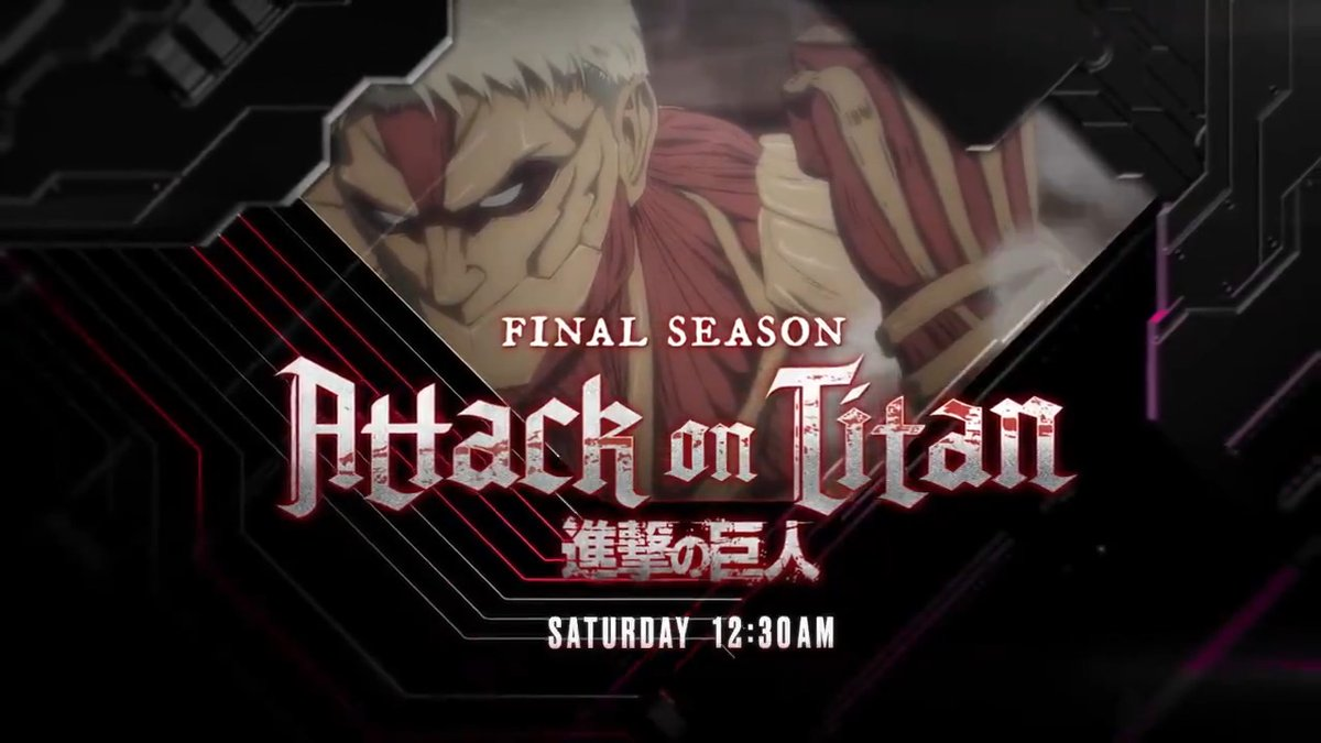 Tonight at 12:30am, on an all new episode of #AttackOnTitan, on #Toonami