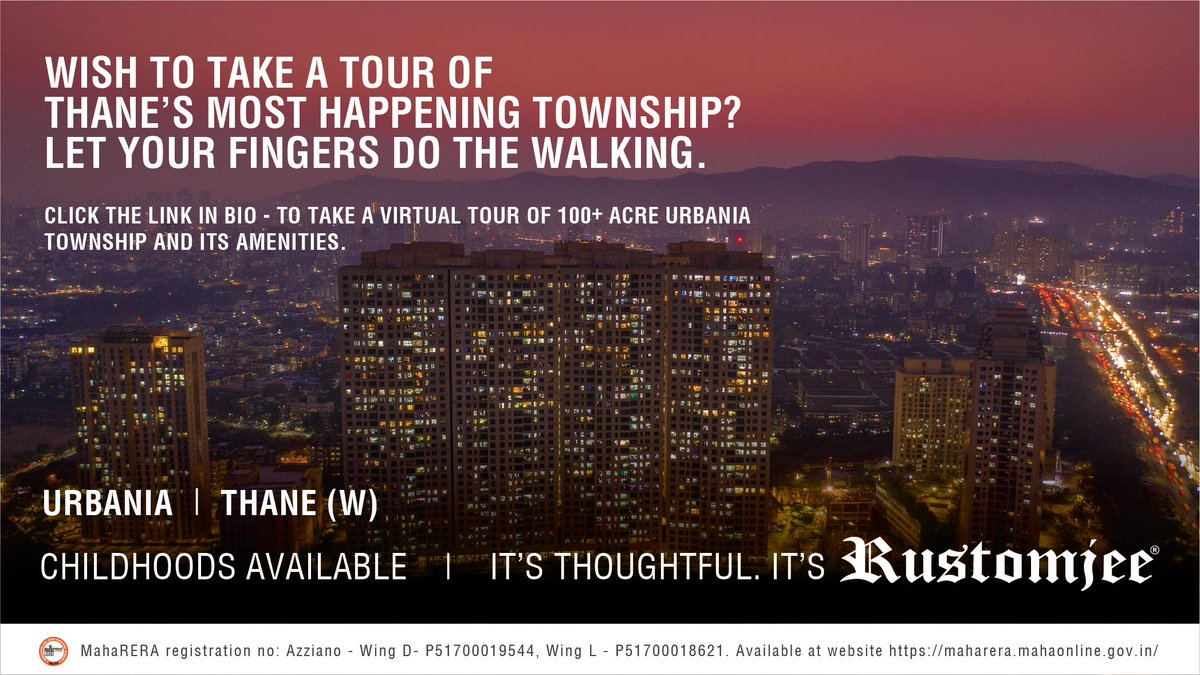 Experience a virtual tour of a 100+ Acre Rustomjee Urbania Township, Thane. Just click on .  #RustomjeeUrbania #childhoodavailable #Thane #Majiwada #Azziano #happeningurbania #virtualtour #experience