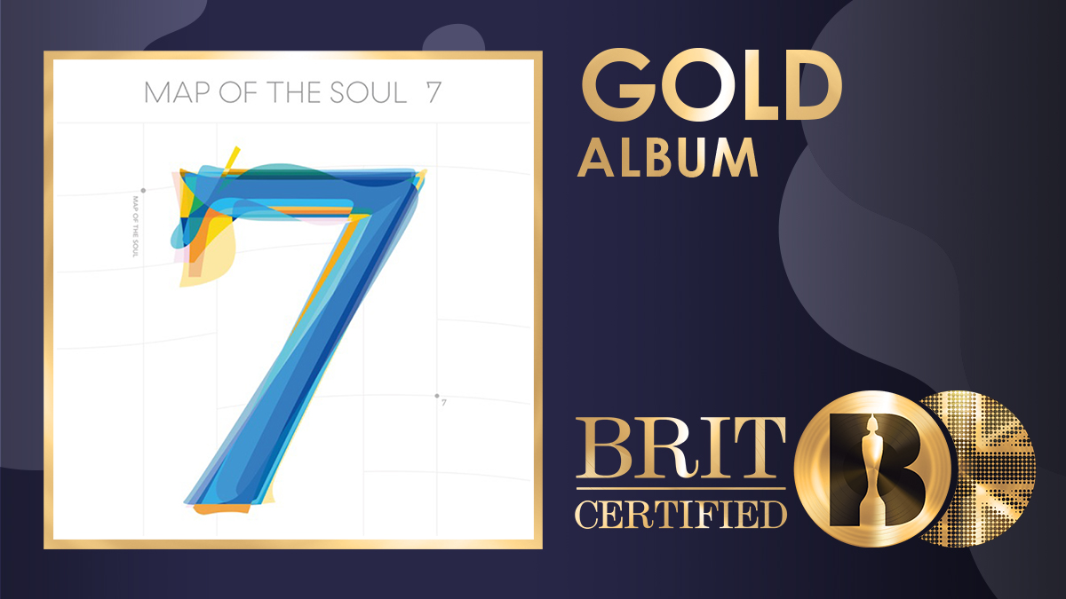@BRITs @BTS_twt . @BTS_twt's 'Map Of The Soul: 7' is now #BRITcertified Gold! 📀  #BTS #BTSARMY #RM #JIN #SUGA #JHOPE #JIMIN #V #JUNGKOOK