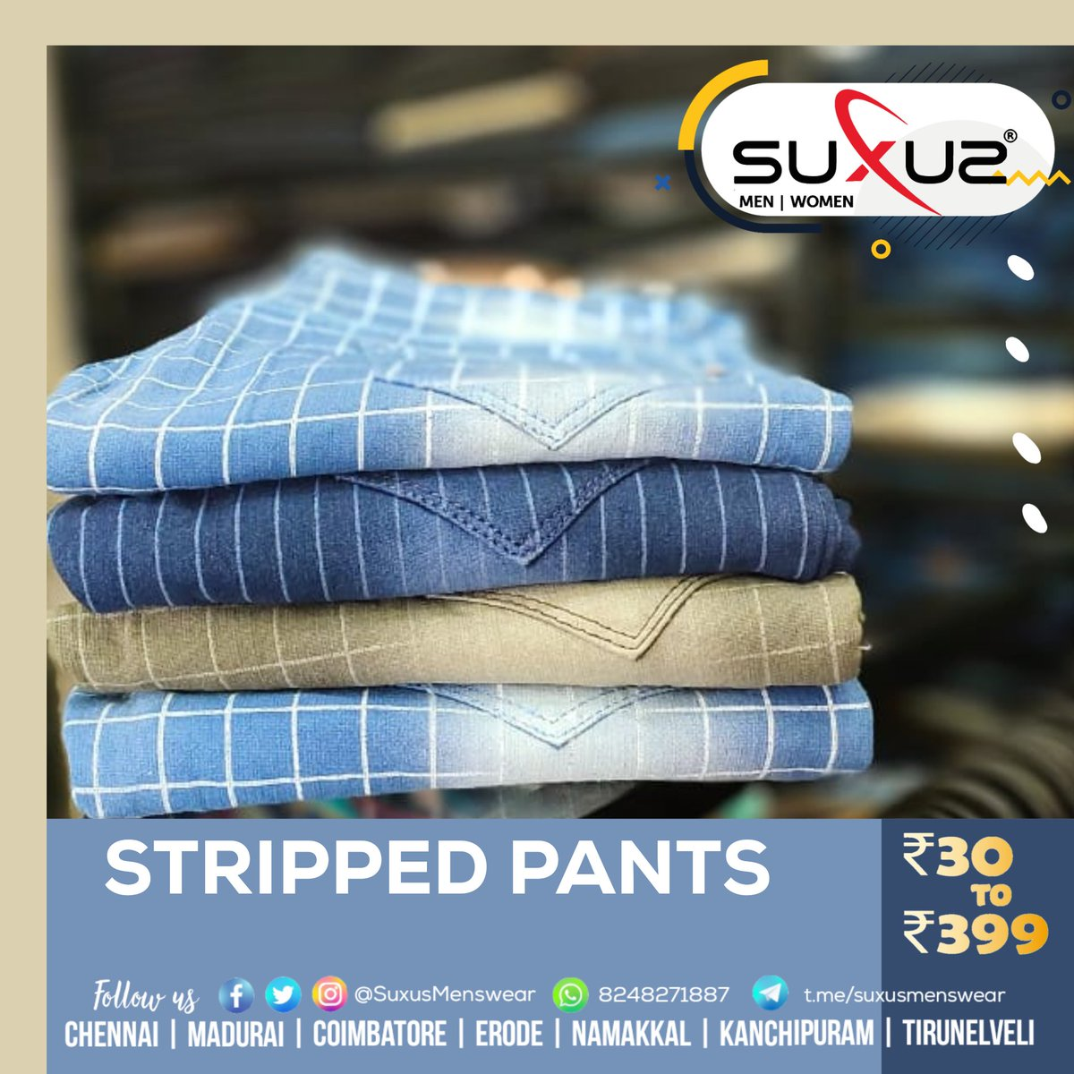 Fully Loaded With trending Stocks! All men and women collections from ₹30 to ₹399 only at SUXUS  #suxus #menswear #rs30to399  #lowprice #pants #Casuals #formal #denims #trousers #shirts  #Chennai #Madurai #Coimbatore #Erode #Namakkal #Kanchipuram #Tirunelveli