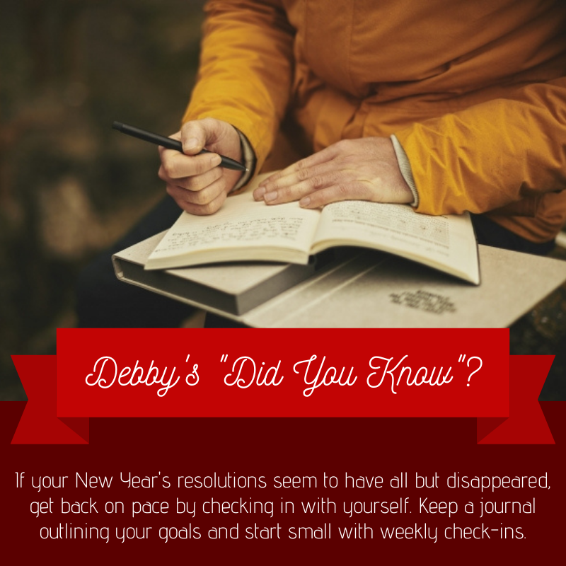 It's not too late to get back on track with your New Year's resolutions! Check in with yourself by keeping a journal to outline your goals, and start small with weekly check-ins. #DebbysDidYouKnow #NewYearsResolutions #Motivation