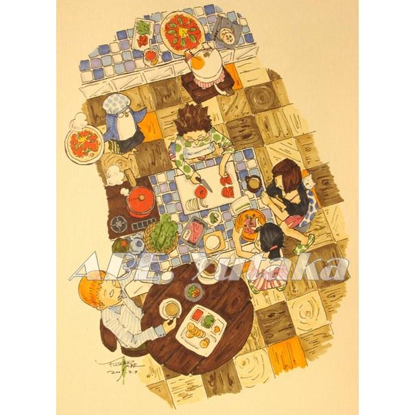 床の木目とテーブルのタイルが描きたくて。 #イラスト #絵描き #ネコ #カフェ #珈琲 #料理 #水彩 #illustration #illustrator #cat #penguin #party #coffee #cafe #cooking #kitchen #farm #Watercolor #絵柄が好みって人にフォローされたい #絵描き人