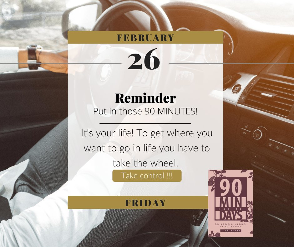 Have you decided to take the wheel in your life and work towards the things you want to achieve? #90minfor90days #FridayMotivation #Motivation #inspiration #mindset #decisionmaking #takeaction #goals #Health #Finances