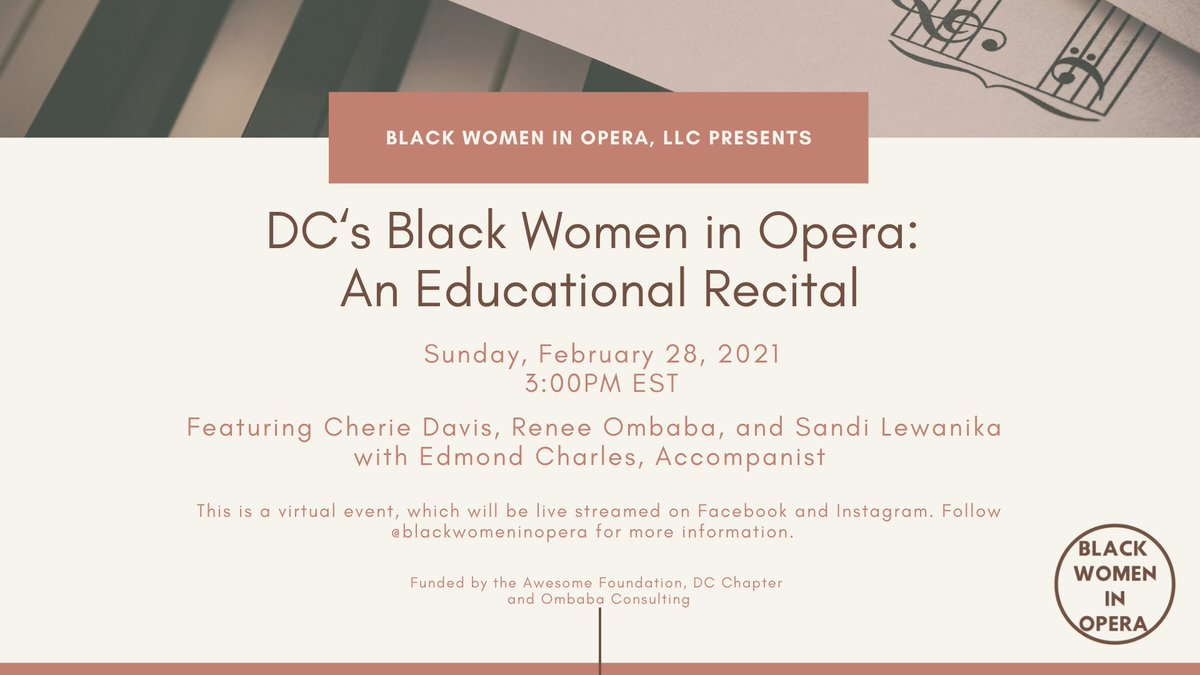 Our January grant winner @BWIOpera is having a recital this Sunday! Check out their  for the live stream at 3pm and some serious #BlackGirlMagic  #202  #DCThings #EventsDC #ThingsToDoInDC #mydccool #awesomedc #acreativedc  #huminitiesDC #DCArts #202creates