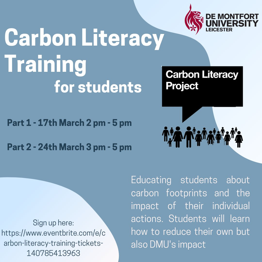 All @dmuleicester students are invited to join Carbon Literacy Training. Learn about your carbon footprint and how to reduce it.  Part 1 - 17th March Part 2 - 24th March  Register for both parts here:   #carbonfootprint #sustainability #SDGs #education