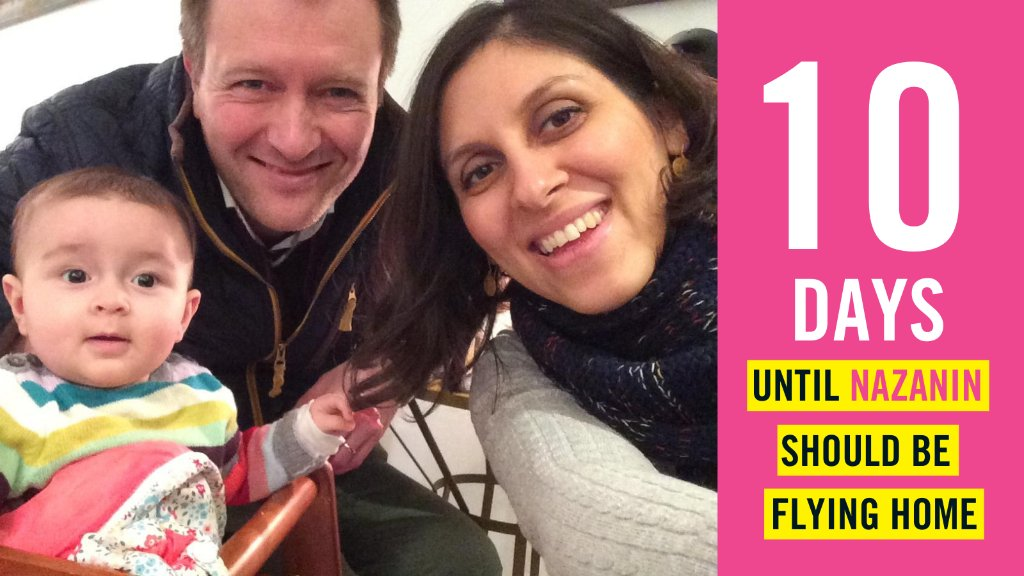 In 10 DAYS Nazanin Zaghari-Ratcliffe should be flying home.  🚨 RT our daily countdown & help us call on UK government & Iranian authorities to reunite Nazanin with her daughter & husband at the end of her sentence 🚨  #FreeNazanin @Iran_in_UK