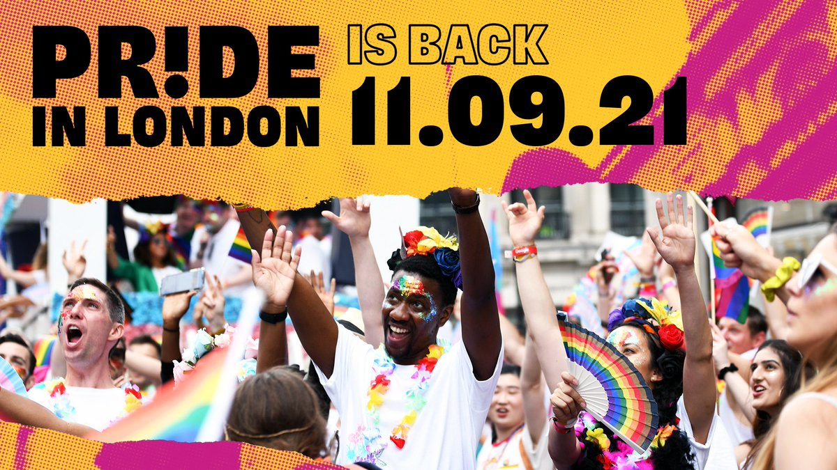 We've got that #FridayFeeling AND the news you've all been waiting for... 😉 WE'RE BACK❗  Pride in London will return on the weekend of 11th Sept 2021 - stay tuned for more details on what the event will look like and how to get involved. We CANNOT wait to see you all! 🥰🏳️🌈🏳️⚧️