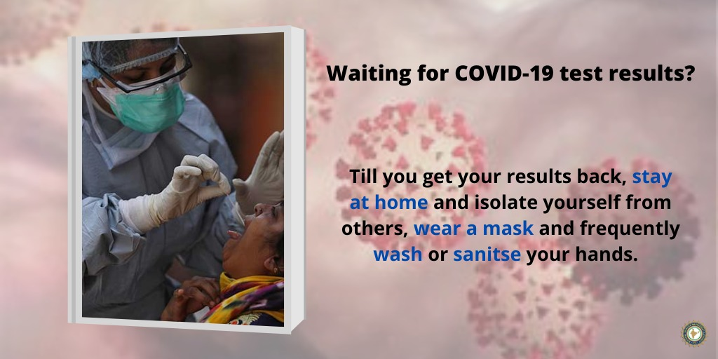 #COVID19 | While waiting for your #coronavirus test results, make sure to:    ✅ Stay at home ✅ #WearAMask  ✅ Frequently wash/sanitise your hands    #Unite2FightCorona  #WearAMaskSaveAlife
