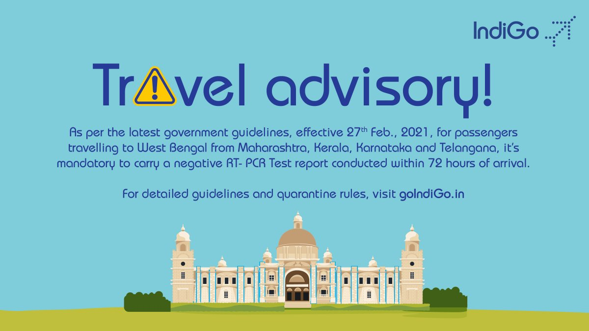 Arriving or departing from West Bengal? Don't forget to read the latest travel guidelines! Know more  #LetsIndiGo #Travel