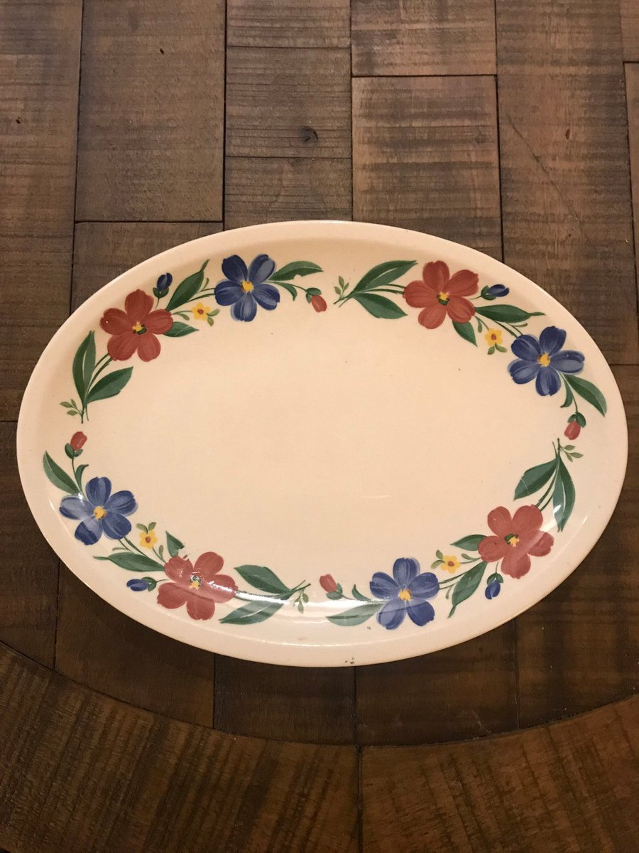 """Excited to share this item from my #etsy shop: Vintage Paden City Shenandoah Ware Cosmos 11 3/4"""" x 8 1/2"""" Oval Platter #shenandoahware"""