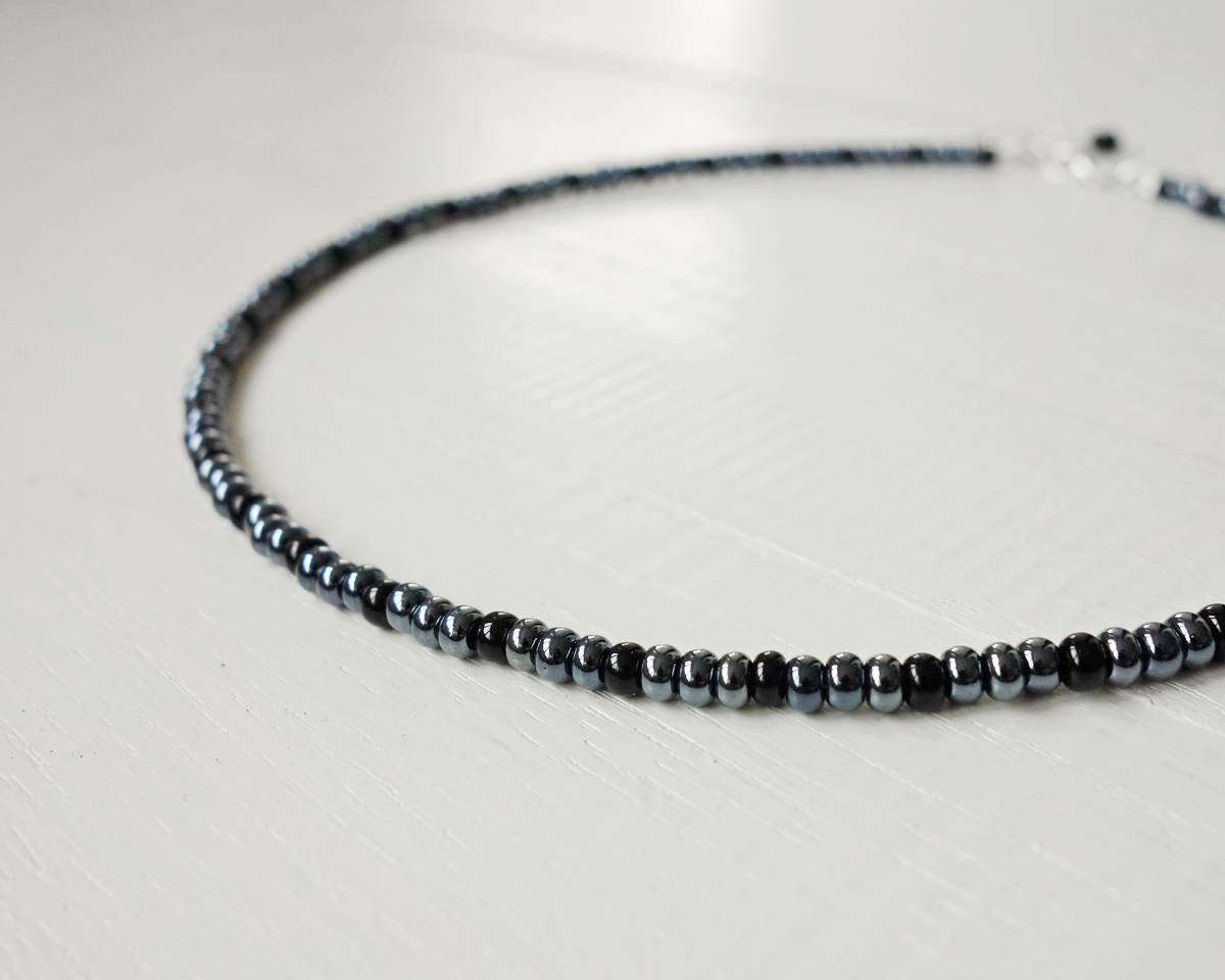 Beaded Necklace Gunmetal Gray Beads, Unisex Style. #coolstyle #handmade #jewelry #etsy #giftideas #shopsmall #etsygifts   via @Etsy