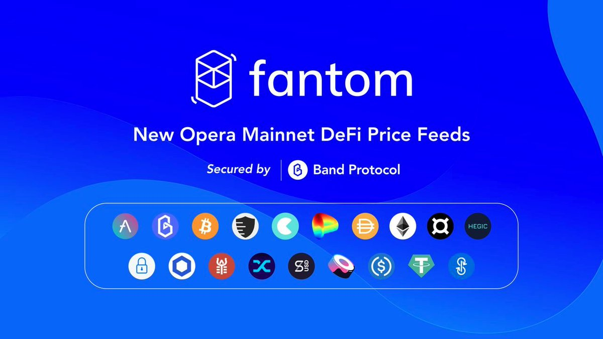 1/ Over 19+ new decentralized price feeds are now live on the Fantom Opera Mainnet! Secured by @BandProtocol, all price feeds will be integration-ready for $FTM developers to leveraging the strengths of $BAND, empowering scalable cross-chain #DeFi interoperability.