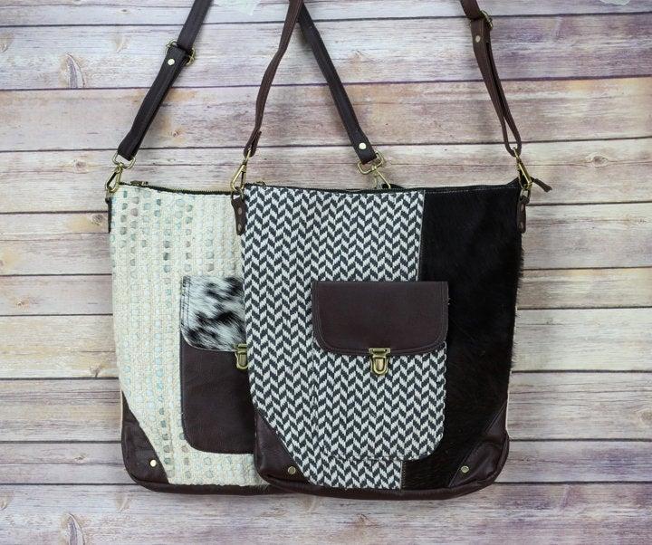 Hair on Hide Front Pocket Leather Crossbody bag, Western style handbag for women, Brown Leather, Genuine Cowhide, gift for her  #RivetandBurrLeather #Etsy #LargeToteBag