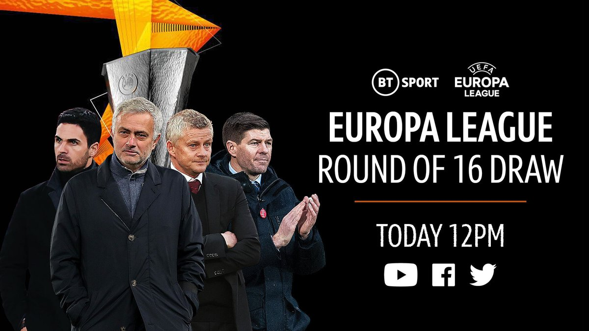 """Football on BT Sport on Twitter: """"Arsenal, Tottenham, Man Utd and Rangers  are ALL in today's Europa League round of 16 draw! Watch it LIVE right  across our social platforms 📲 📍 #"""