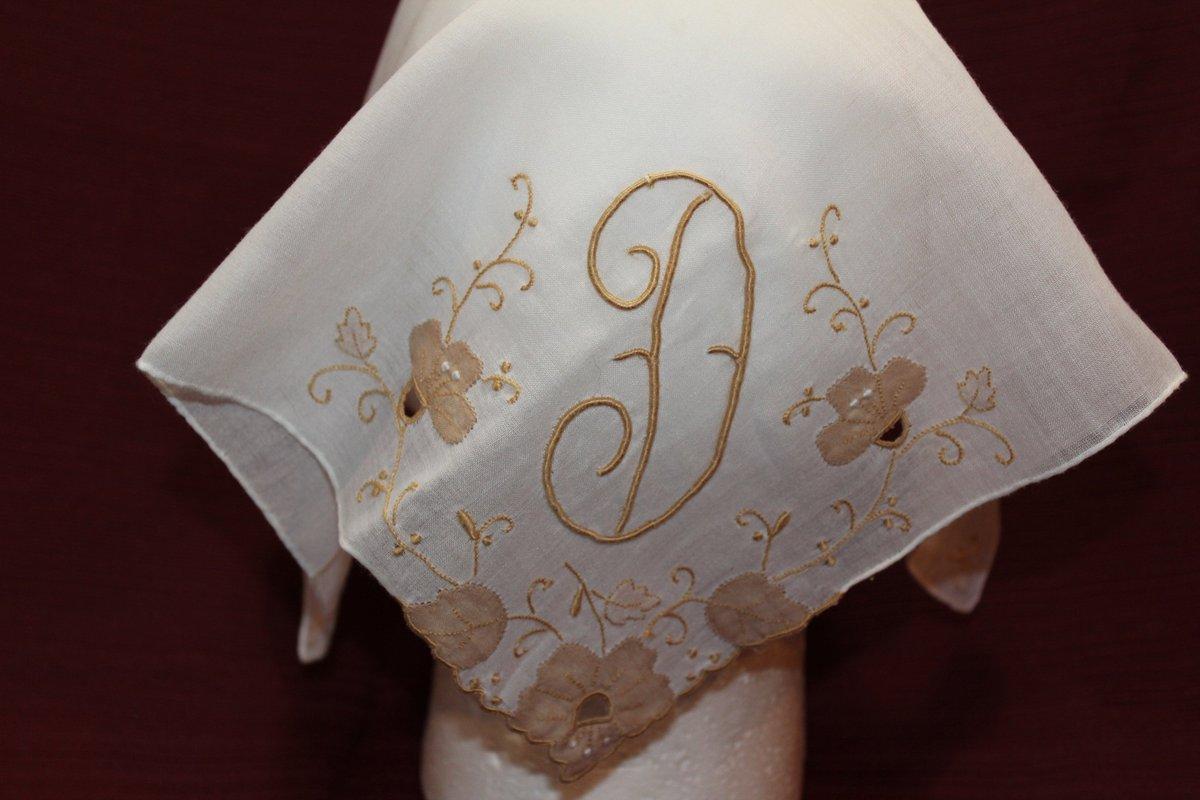 Vintage D Handkerchief, Mid Century Modern Hankie, Retro, Embroidered Floral, Vines, Beige, White, Large Hankie, Rolled Edge, Flowers, Linen  #Etsy #ImagineQuiltsAndMore #RolledEdge