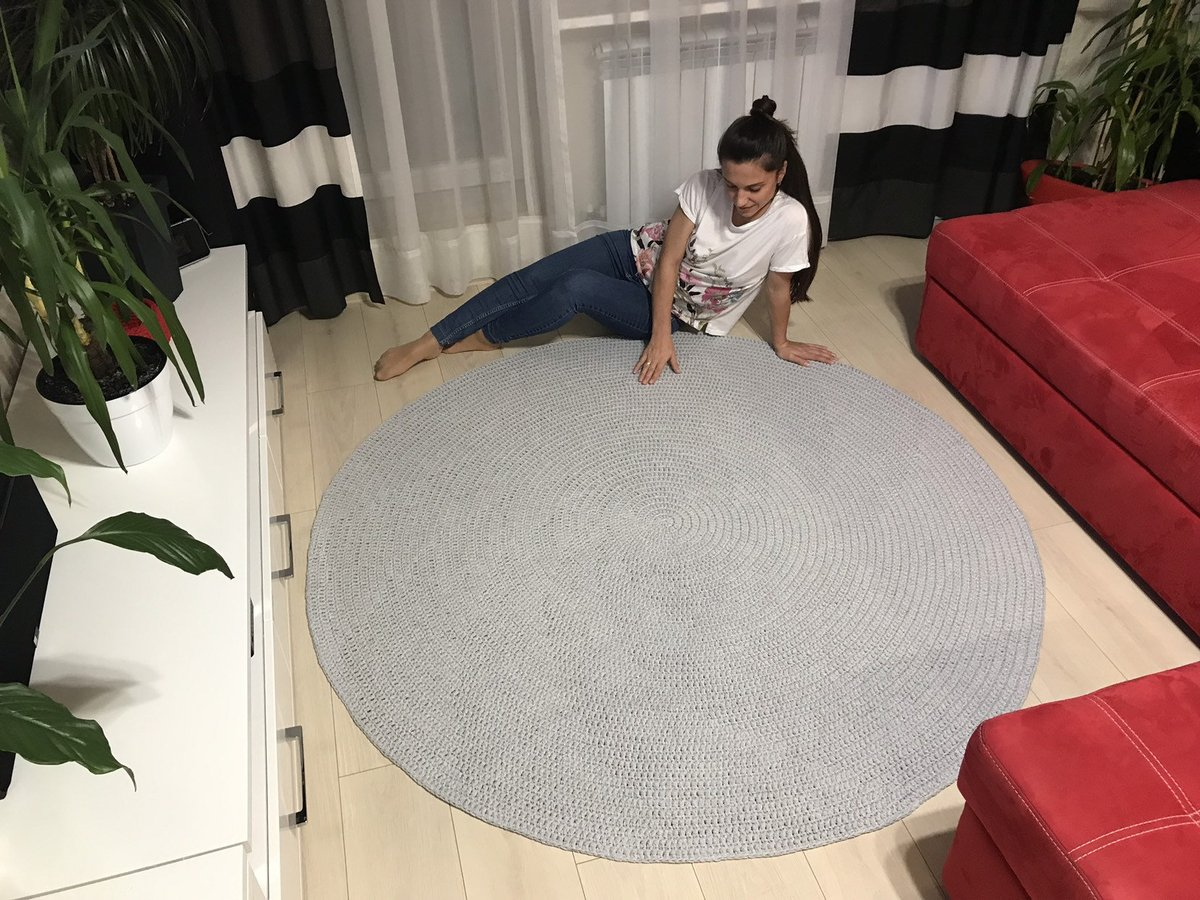 Excited to share the latest addition to my #etsy shop: Gray round rug Crochet circle rug Round rug Door mat Round carpet Small area rug Living room rug Bedroom rug Crochet carpet Kids gray mat  #circle #doormat #cotton #circlecarpet #floordecor #