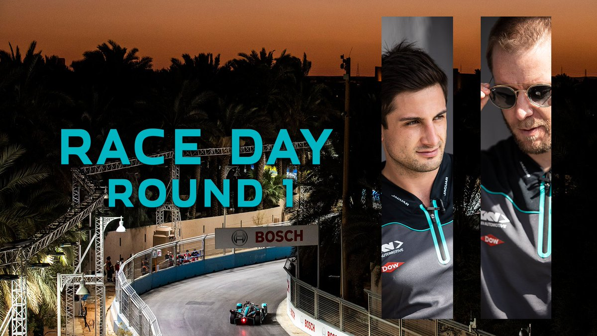 𝗥𝗔𝗖𝗘 𝗗𝗔𝗬 ⚡️  20:03 GMT+3 @mitchevans_ & @sambirdofficial begin the fight for the first World Championship title in @FIAFormulaE 🏁   #JaguarElectrifies  #RaceToInnovate  #RaceToInspire #ABBFormulaE