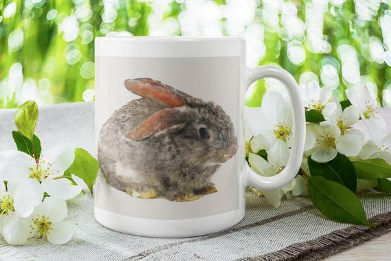 Check out my new listing in my Etsy shop: Little Bunny Coffee Mug. Nature Lover Gift. Cute Rabbit Tea Mug. White Ceramic Coffee Mug by HomeDecorByRamix   #homedecorbyramix #homedecor #etsy