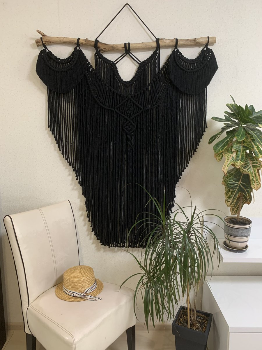 Excited to share the latest addition to my #etsy shop: Black large macrame wall hanging, black macrame, boho wall decor, macrame decor, housewarming gift, modern macrame, bohemian black wall art  #black #entryway #scandinaviandecor #wallhangings