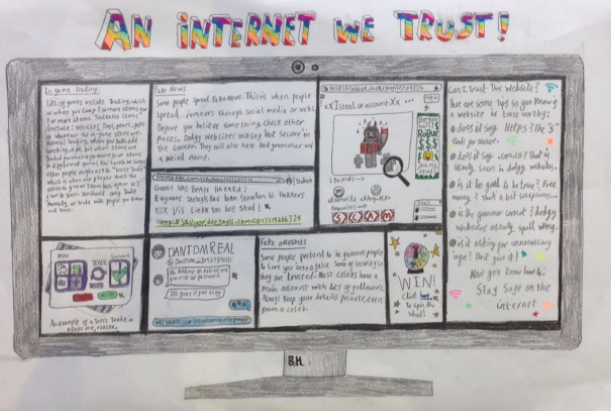 We had so many brilliant entries into our #saferinternetday poster competition that it was hard to choose a winner!  A big thank you to everyone who entered and a huge well done to our overall winners Beatrice in KS2 and Jessica in KS1.  Read more at