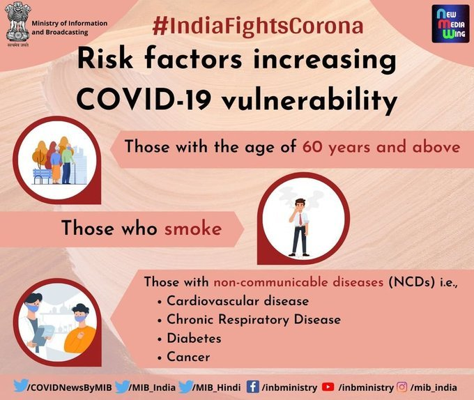 #IndiaFightsCorona:  Q. Is risk factors increasing #COVID19 vulnerability?  🔹Those with the age of 60 years and above   🔹Those who smoke 🚬  🔹Those with non-communicable diseases (NCDs)  #StaySafe👍 #IndiaWillWin #Unite2FightCorona