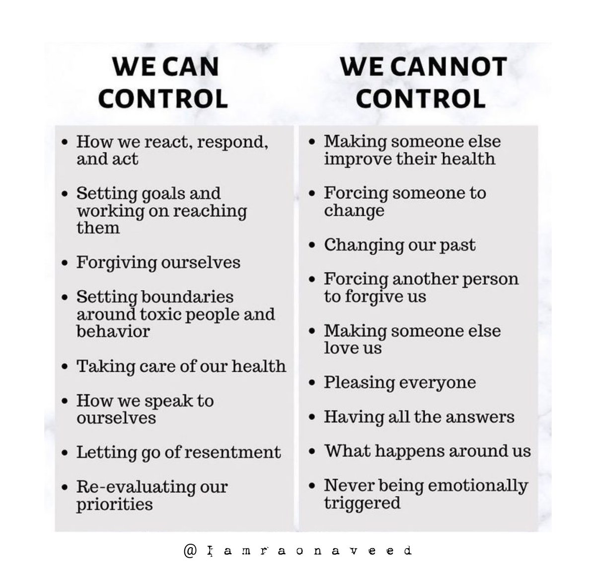 Things which we can or can't control. #FridayThoughts #FridayMotivation #MotivationalQuotes #Motivation #motivational #Iamraonaveed #thoughtoftheday