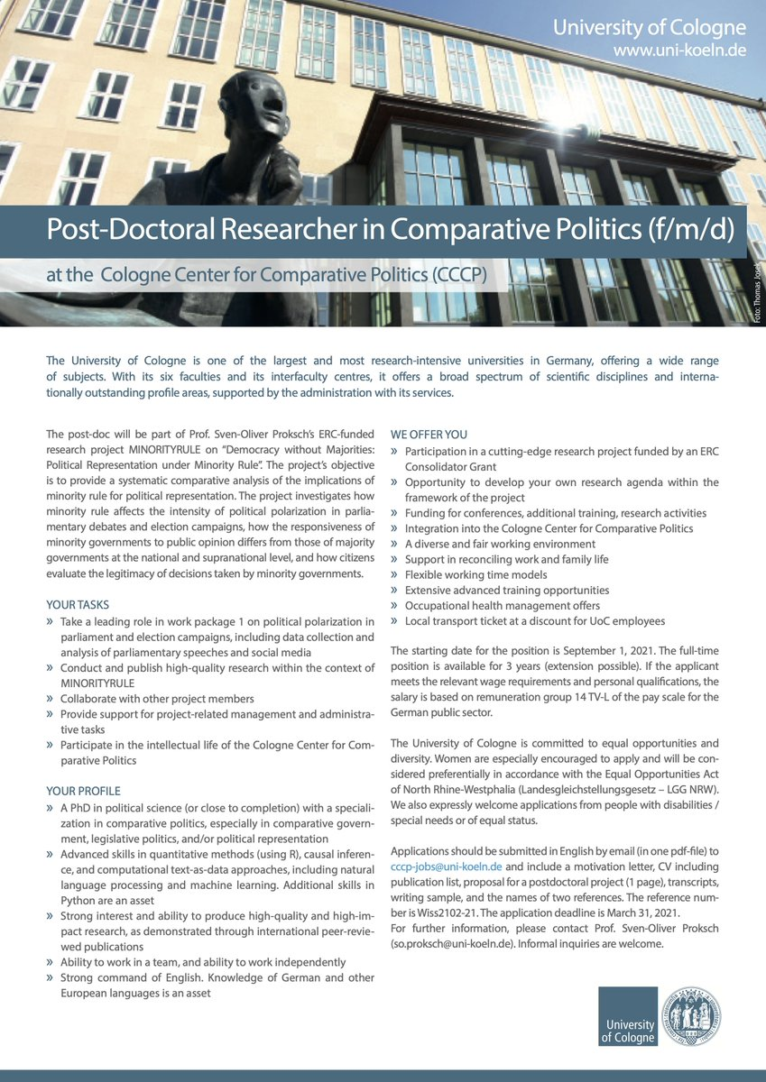 📢 Post-Doc Opportunity @CompPolCologne I am looking for a post-doc in comparative politics for my ERC project MINORITYRULE on Democracy without Majorities: Political Representation under Minority Rule! Job ad: stellenwerk-koeln.de/sites/default/…