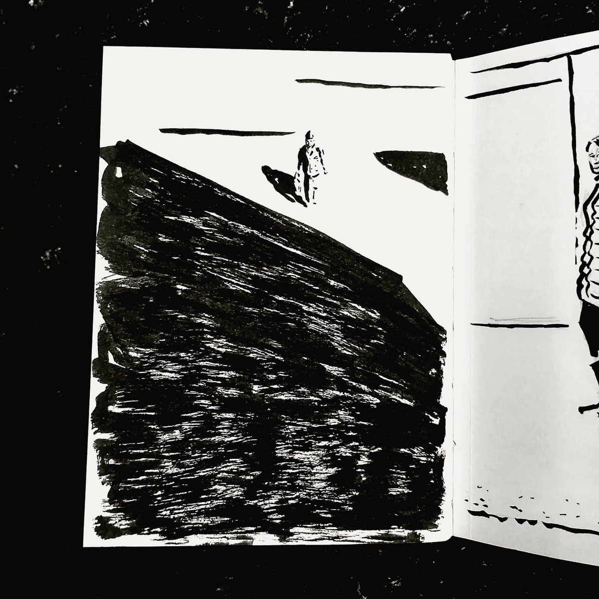 From the Inside 2 Day 114 (263 total) #isolation study Kitchen window Passerby No 154 #isolationlife #stayathome #lockdown #lockdown2uk #sketchbook #sketch #drawing #draw #doodle #ink #lineart #lifedrawing #figuredrawing #walk #artoftheday #art #artwork #artist #illustration