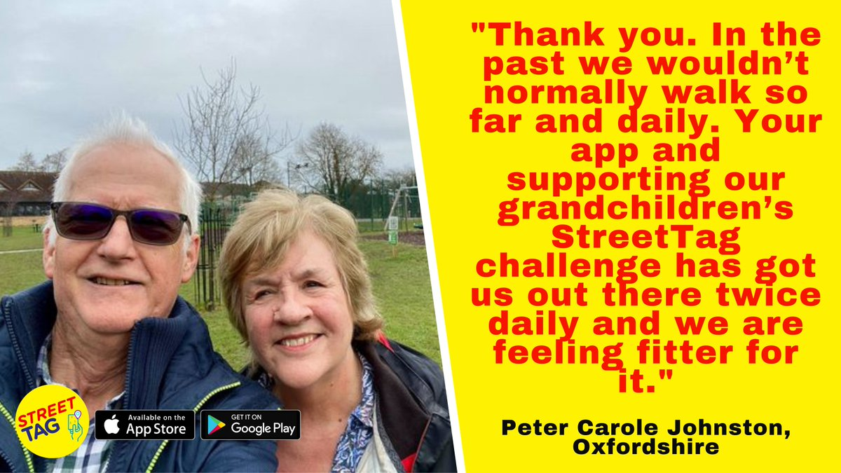 Have you discovered @streettaghq yet? We're thrilled that #Oxfordshire schools have really embraced Street Tag to help make getting active fun for children. It's had a wider impact too: here grandparents Peter & Carole Johnston have got involved too! https://t.co/HNi1YVnCz6