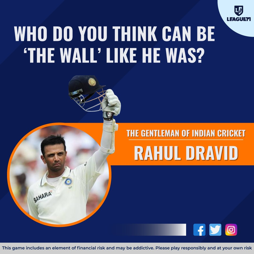 "Captains to their Bowlers:-  Yeh Ambuja cement ki deewar hai, itne aasani se nhi tutegi! . Who can be the ""New Wall"", like he was? . #RahulDravid #thewall #IndianCricketTeam #India"