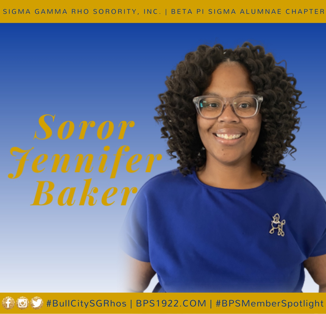 Born and raised in Henderson, North Carolina, Soror Jennifer Baker graduated from UNC Greensboro with a Bachelor's in Business Administration. Married for 5 years with a 2-year-old daughter, Soror Baker is an eighth grade mathematics teacher at Neal Middle School. #blackgirlmagic