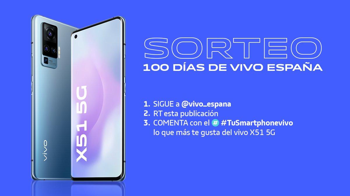 📱 SORTEO 100 DÍAS DE VIVO ESPAÑA📱 Para celebrar nuestros 100 primeros días aquí os traemos 𝗦𝗢𝗥𝗧𝗘𝗔𝗭𝗢 de un #vivoX51 🙌   ¿Cómo participar?  1️⃣ SEGUIR a @vivo_espana 2️⃣RT esta publicación 3️⃣ COMENTA con el #️⃣ #TuSmartphonevivo lo que más te gusta del móvil