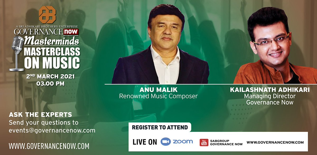 We bring you a chance to build up your music career.  Join me for the next episode of #Masterminds with renowned music composer, Mr. @The_AnuMalik on 2nd March at 3.00 PM.  Register Now:   #MusicIndustry #AnuMalik #Music #HindiMusic