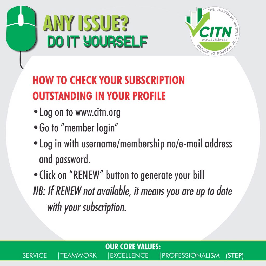 How to Check and Pay CITN Subscriptions