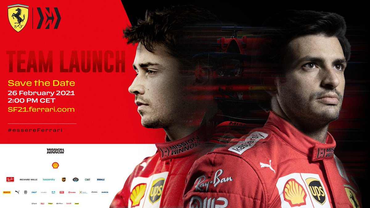 🔴 𝙇𝙄𝙑𝙀 𝙉𝙊𝙒! 🔴  Join us as we present our team for the 2021 season! 💪  👉 https://t.co/hprUTdrl0W  #essereFerrari 🔴 #SF21 https://t.co/ffqz9BKOHQ