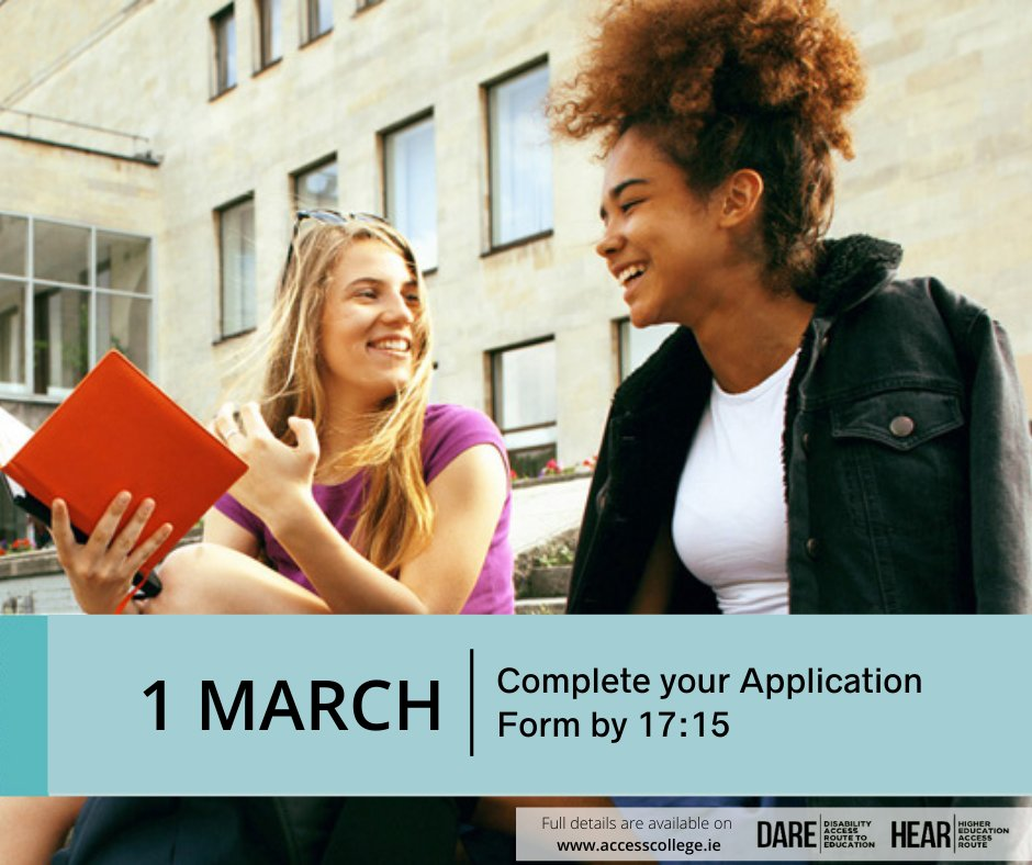 Deadline for completing HEAR and DARE application forms is 5:15pm 1st March.  All supporting documents must be posted to the CAO, Tower House, Eglinton Street, Galway by 5:15pm 15th March. https://t.co/t42PMeUM04
