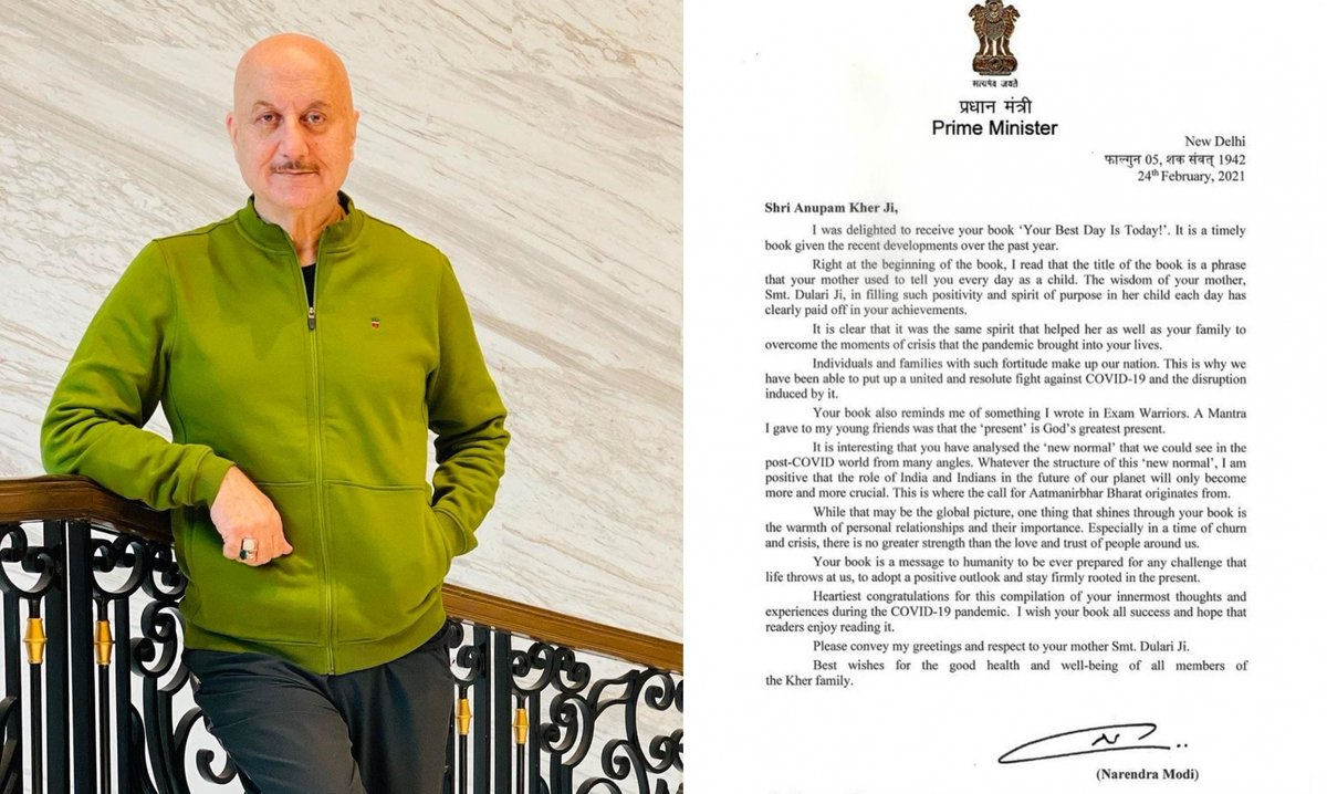Actor #AnupamKher (@AnupamPKher) on Friday expressed that he is honoured and humbled to receive a letter from Prime Minister #NarendraModi (@narendramodi), on his latest book titled #YourBestDayIsToday.