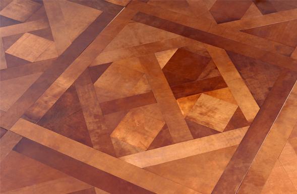 Parquet de Versailles in Leather Light Antique Tan #deferranti #leather #parquet #antiqued #finishes #surfaces #walls #floors #tiles #bespoke #design #interiors #interiordesign #luxury #textures #wallart #floorart #decor #elegant #sophisticated #london #limestonegallery