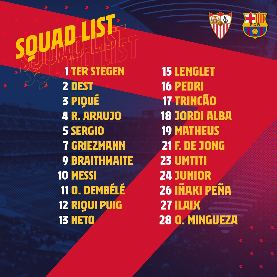 The squad for #SevillaBarça! 💪🟦🟥