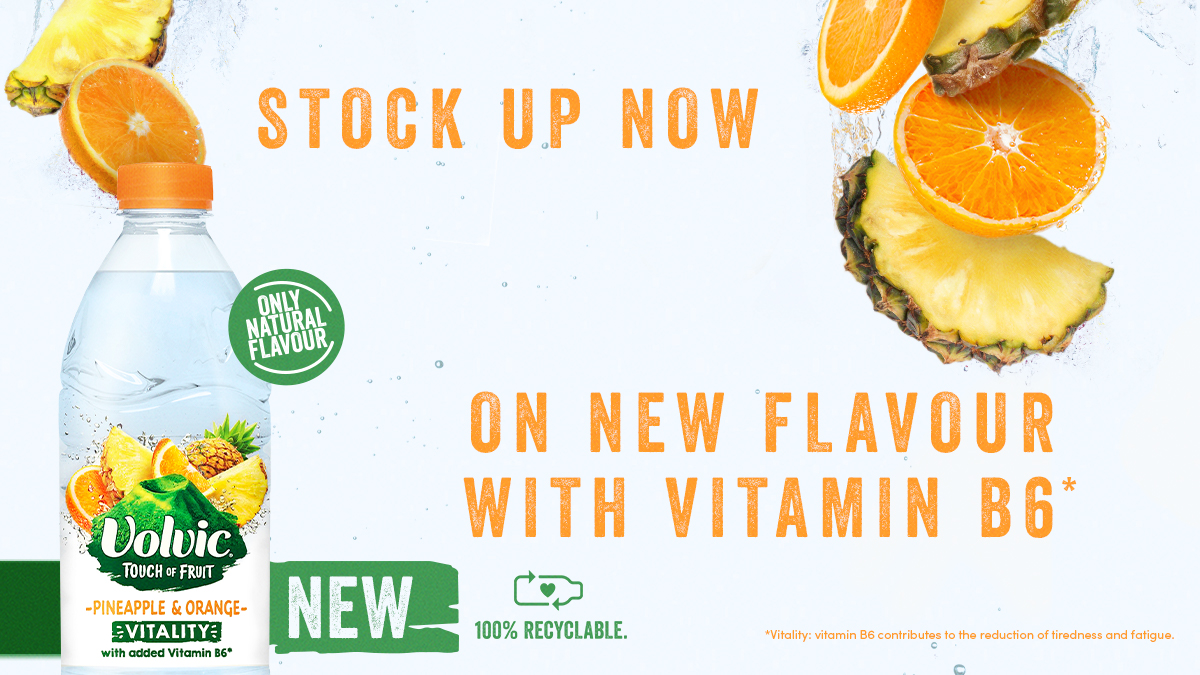 The Added Benefit category has grown by +21.7% versus YA.   Don't forget to stock up on the exciting new @volvic_uk Touch Of Fruit ~ Pineapple & Orange Vitality 1.5L  flavoured water variant with added Vitamin B6! 🍍🍊  #volvic #TouchOfFruit #beverage #water #wholesale