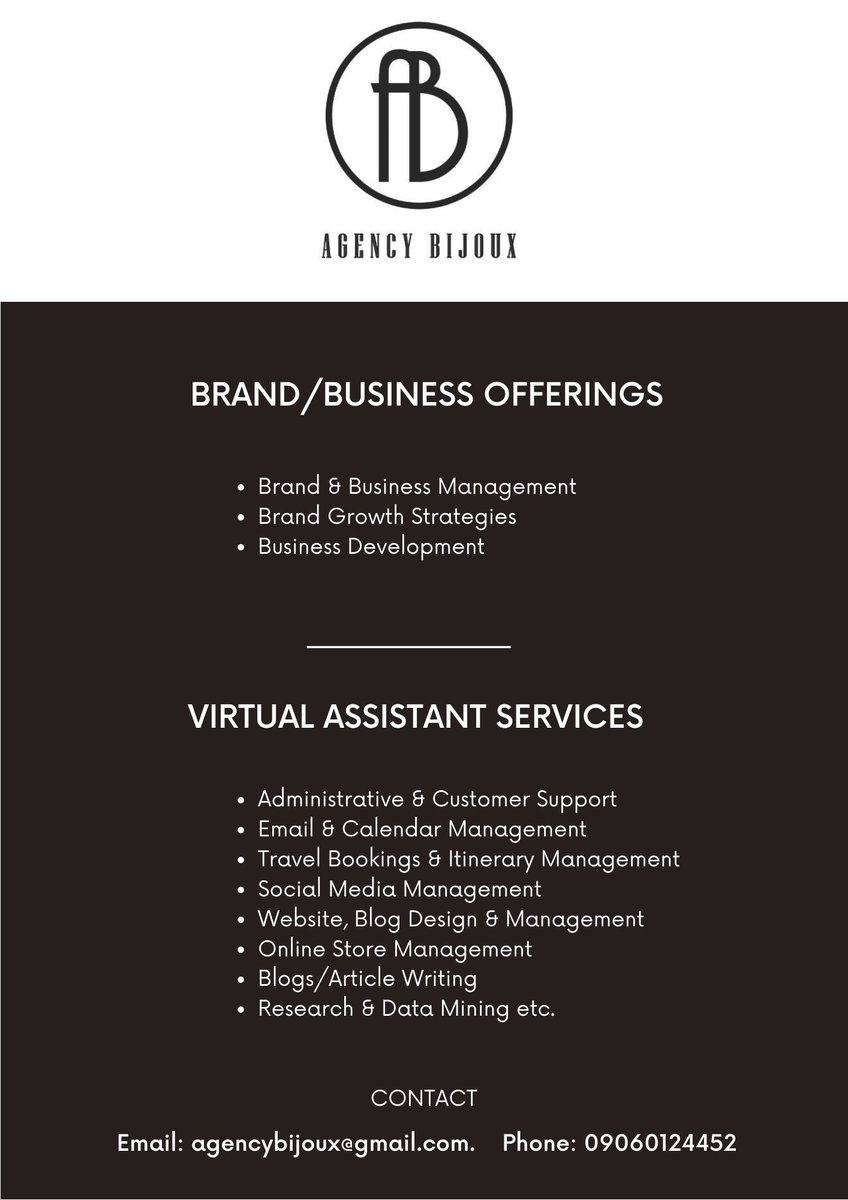 Thanks everyone, back to earning my 2k for the day.  I eat, drink, dream Brand/Business management & development, growth strategies.  I also offer virtual assistant services to individuals & organisations @AgencyBijoux, plug me in or work with me, thank you.