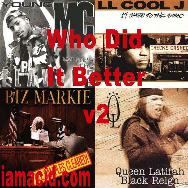 Who had the better album ? Young Mc, @llcoolj, @BizMarkie or @IAMQUEENLATIFAH #WDIB #QOTD #IAMACID #ACIDDA1 #WHODIDITBETTER #QUESTIONOFTHEDAY #ADMIRATION #SPLASH #ACID2779