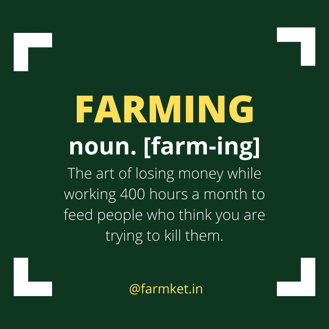 This is the kind of definition of farming. Because reality of farmers is often disappointing.  . . . . #farmers #farmket #farmer #farmerprotest #agriculture #agriculturelife #agriculture_global #indianfarmers #upfarmers #haryana #uttarpradesh #farmersmarket #healthyfood #india