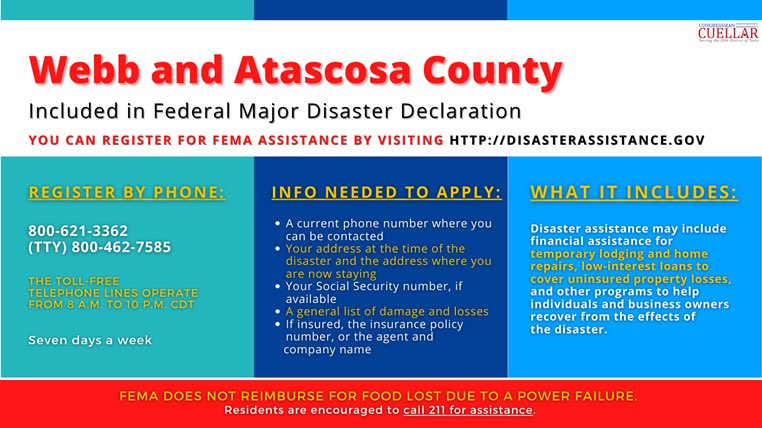 Thank you @fema for approving Webb and Atascosa Counties on their requests for Individual Assistance in the wake of the winter storm. These services provided through IA programs will provide immediate relief to Texas families as they work to rebuild their communities.